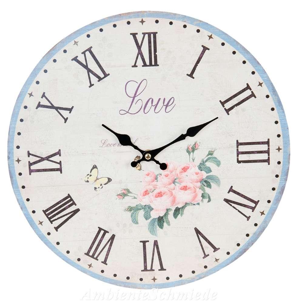 Uhr Wanduhr Kuchenuhr Love Rosen Blumen 34cm Shabby Vintage Antik