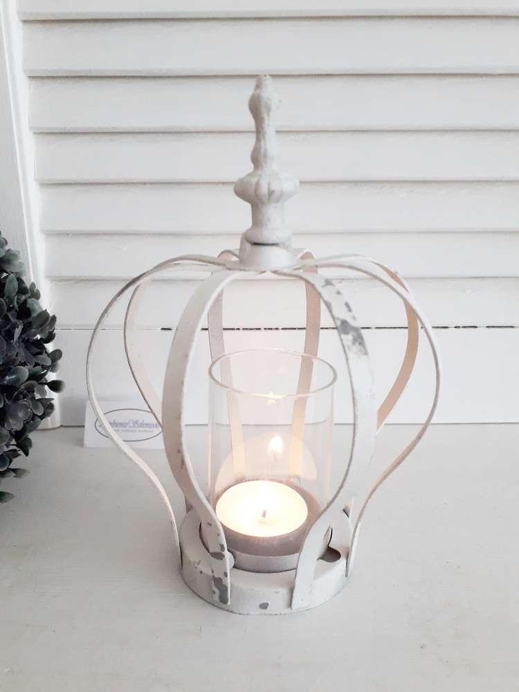 Windlicht Teelichthalter Kerzenhalter Metall Glas Shabby Vintage Landhaus Deko