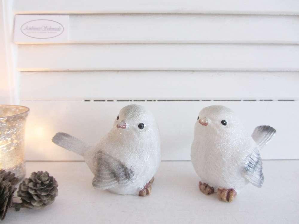 Deko Winter Vogel sitzend 3 Motive Creme Weiß Glitter Festlich X Mas Shabby H.12
